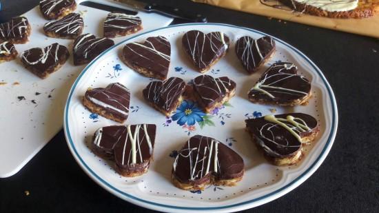 Quick Valentine's heart shaped Florentines recipe uk dark chocolate and white chocolate hearts