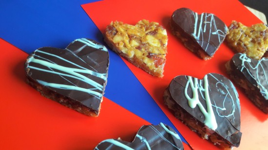 Quick Valentine's heart shaped Florentines recipe uk with dark choc and white chocolate