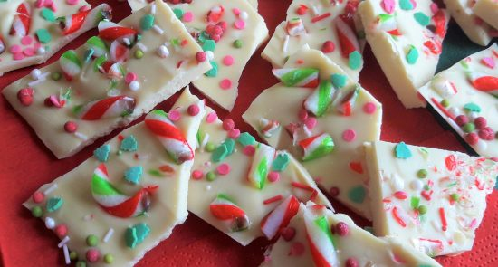 White chocolate Christmas bark recipe uk with mint candy canes