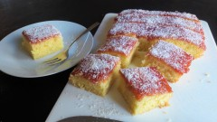 Old school jam and coconut sponge cake easy uk recipe custard optional