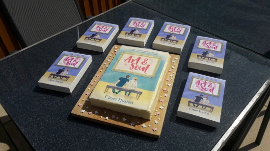 Art and Soul an uplifting contemporary romance novel by Claire Huston book cake 2