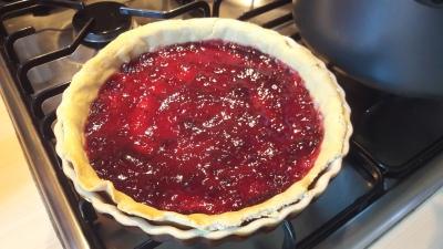 Old school dinner jam and cornflake tart or cake traybake easy quick recipe strawberry jam