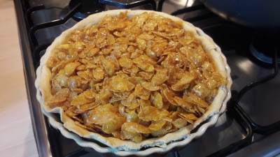 Old school dinner jam and cornflake tart or cake traybake easy recipe before oven baking