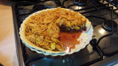 Old school dinner jam and cornflake tart or cake traybake easy recipe sliced with custard optional uk