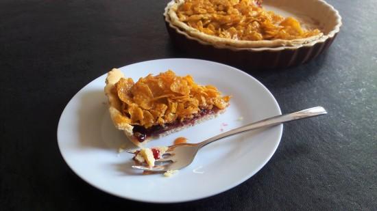 Old school dinner jam and cornflake tart or cake traybake recipe strawberry or raspberry jam easy recipe custard optional