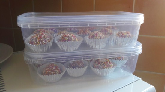 Fun easy rainbow chocolate truffles stored in an airtight container uk