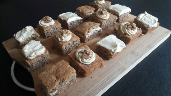 Coffee and walnut traybake tray bake coffee buttercream decoration easy uk recipe