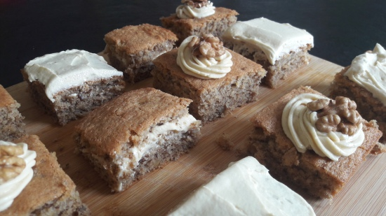 Coffee and walnut traybake tray bake coffee buttercream easy uk recipe