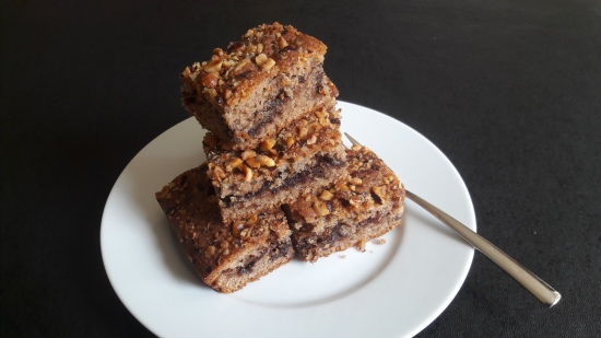 Nutella and cinnamon cake quick recipe with hazelnut sprinkle on top uk