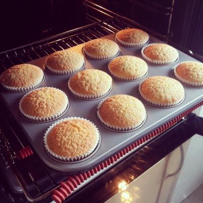 Plain vanilla sponge muffins