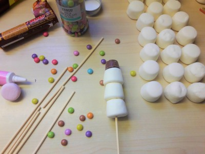 Marshmallow snowmen recipe UK assembly