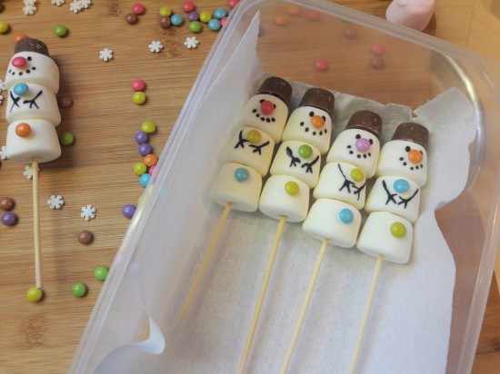 Marshmallow snowmen recipe UK storing your finished snowmen