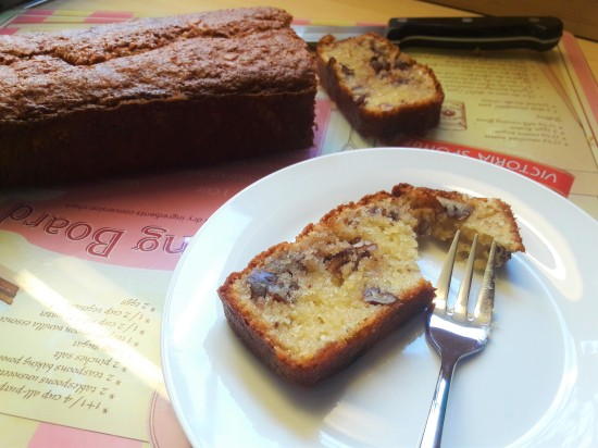 Quick recipe for pecan and almond loaf cake UK grams and oz