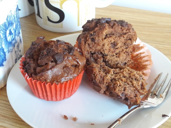 Chocolate peanut butter and choc chip chunk muffins easy recipe uk