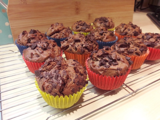 Easy chocolate peanut butter and choc chip chunk muffins recipe uk