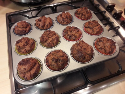 Quick chocolate peanut butter and choc chip chunk muffins recipe uk